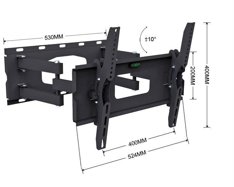 articulating tv wall mount swivel full motion tilt bracket dual arm heavy duty for 32 inch to. Black Bedroom Furniture Sets. Home Design Ideas